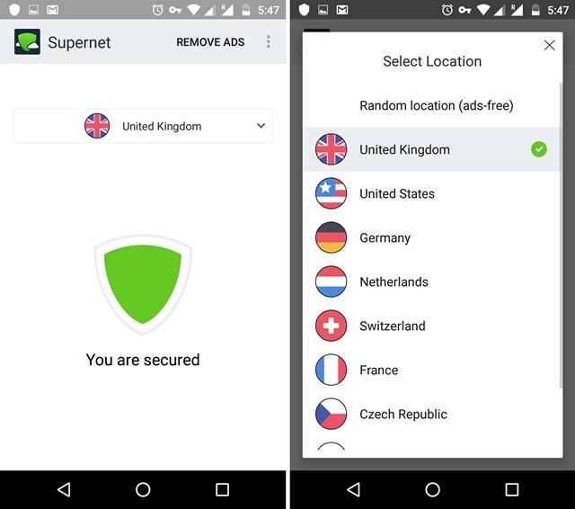 Supernet VPN Android app