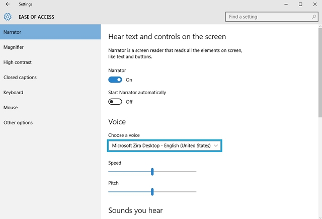 Windows 10 Narrator featture