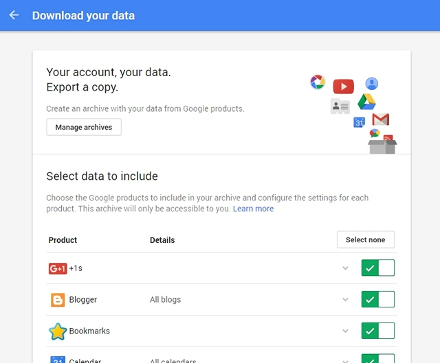 Google Account Data Download