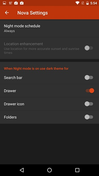 Nova Settings Night Mode