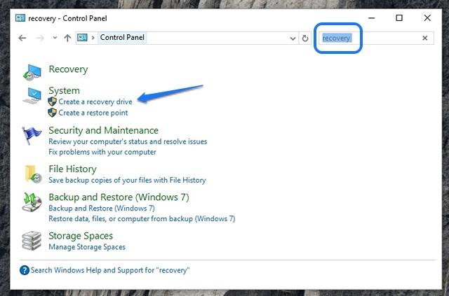Recuperación de búsqueda del Panel de control de Windows 10