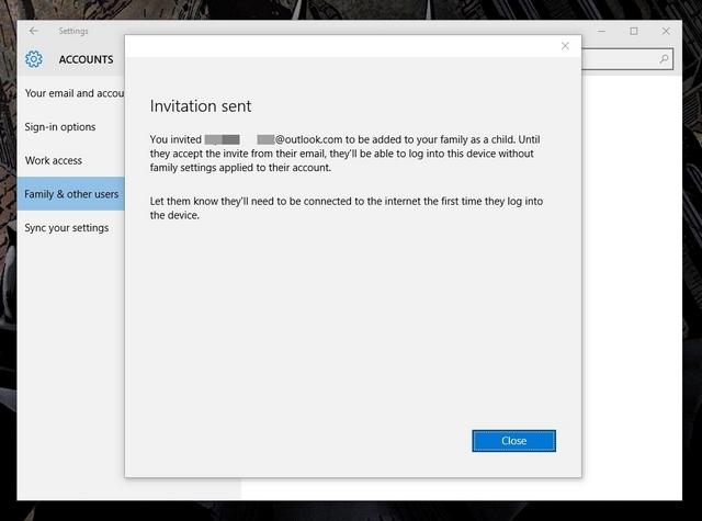 Se envió la invitación a la cuenta infantil de Windows 10