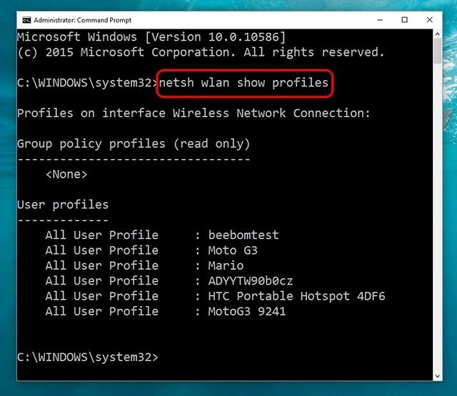 El comando de Windows 10 muestra todas las redes WiFi