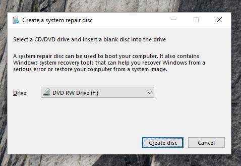 Windows 10 crea un disco de recuperación