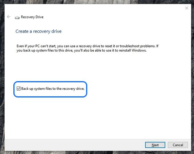 Windows 10 crea una unidad de recuperación