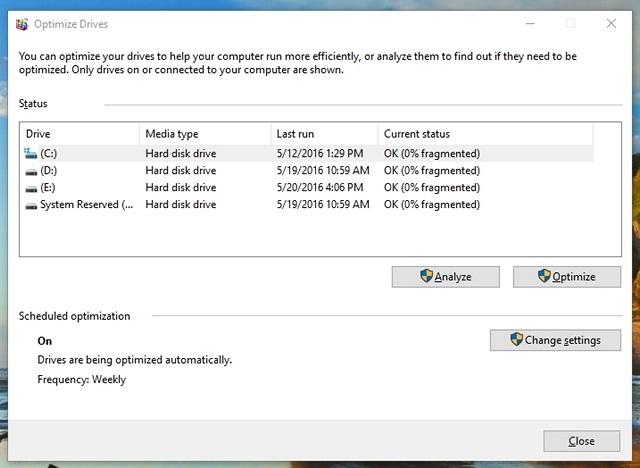 Windows 10 defragment drive