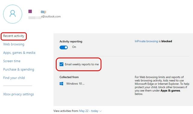 Actividad reciente de controles parentales de Windows 10