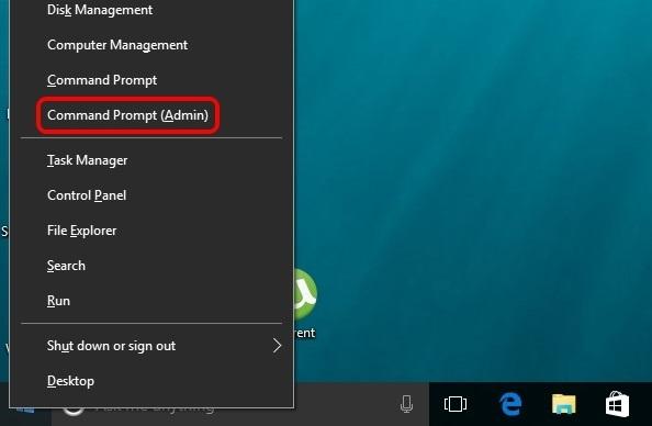 Windows 10 start menu right click command prompt admin