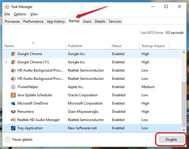 Aplicaciones de inicio de Windows 10