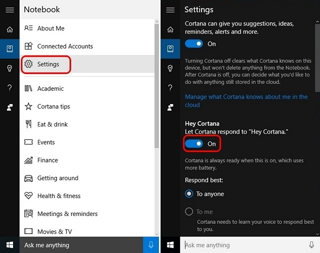 Windows 10 turn off hey cortana