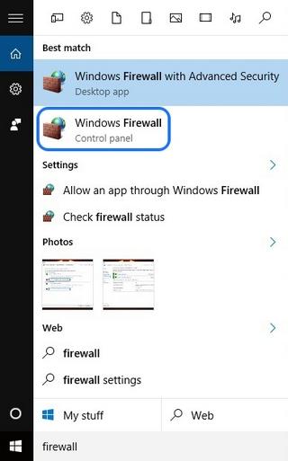Windows Firewall Search