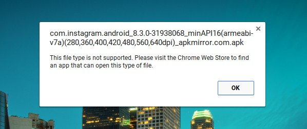 Chromebook APK file install error