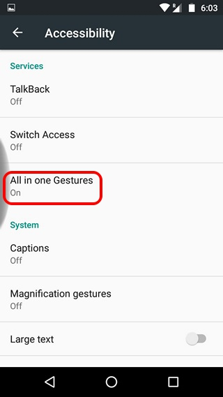 All in one gestures accessibility permission