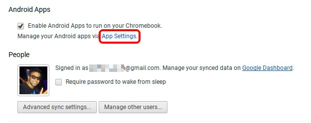 Chrome OS Android App Settings
