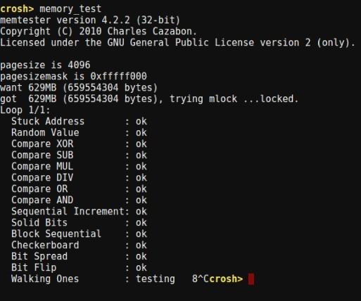 Chrome OS Crosh memory test command
