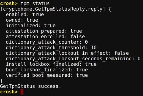 Chrome OS Crosh tpm status command