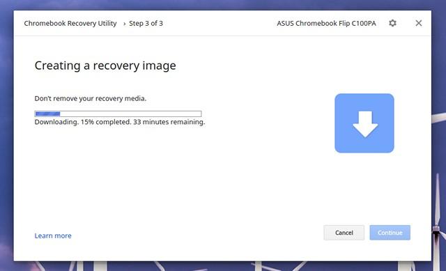 Utilidad de recuperación de Chromebook descargando archivos
