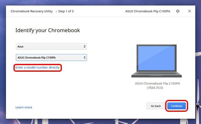 Utilidad de recuperación de Chromebook seleccione el modelo