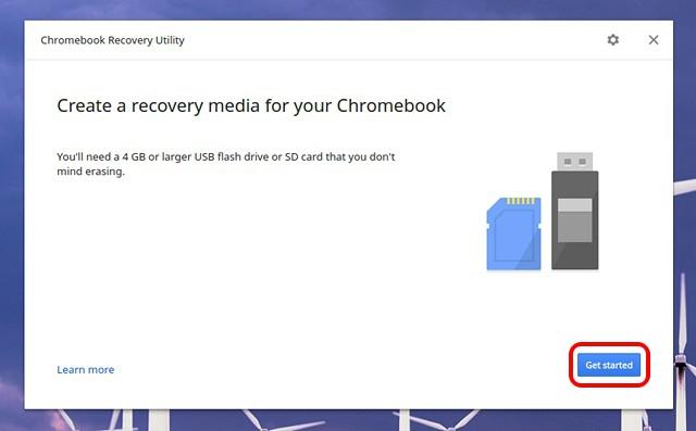 Inicio de la utilidad de recuperación de Chromebook