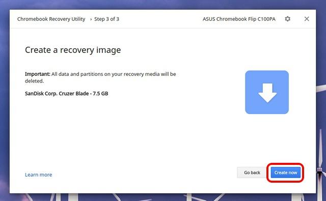 Crear Chromebook de imagen de recuperación