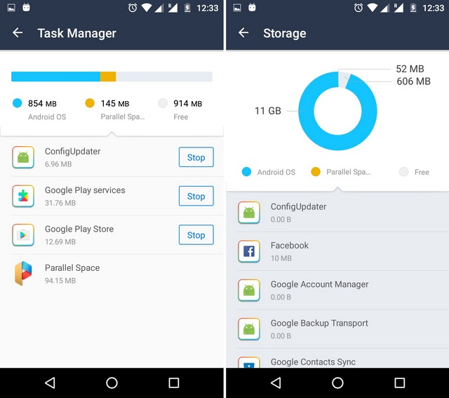 Parallel Space task manager and storage