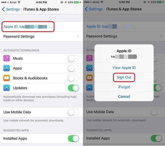 Cerrar sesión en App Store en iPhone