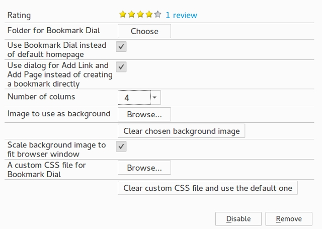 Firefox Newtab Bookmarkdial Options