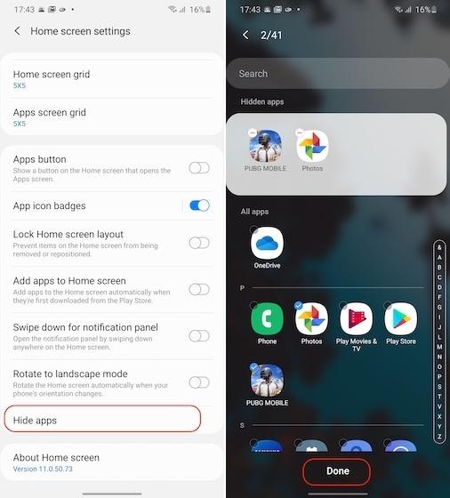 Apps auf Samsung 2 verstecken