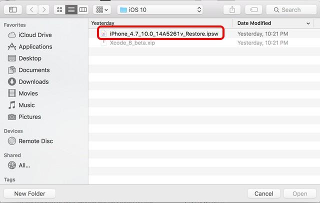 iOS 10 beta restore image install