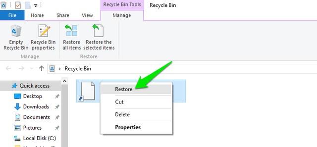 interfaz de papelera de reciclaje