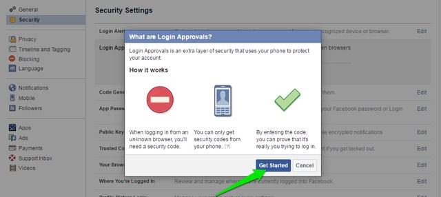 Habilitar aprobaciones de inicio de sesión de Facebook