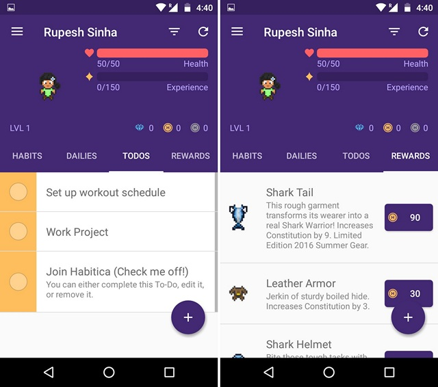 Habitica motivation app