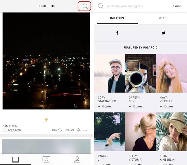 Página de inicio y búsqueda de Polaroid Swing