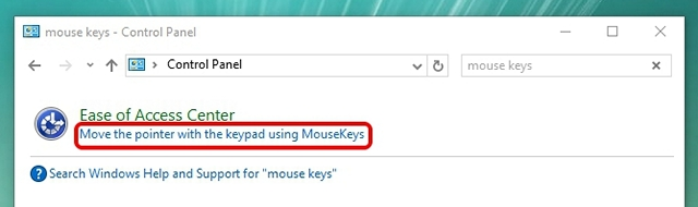 Windows search control panel mouse keys