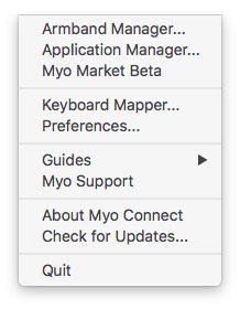 myo gesture control armband menu bar context menu