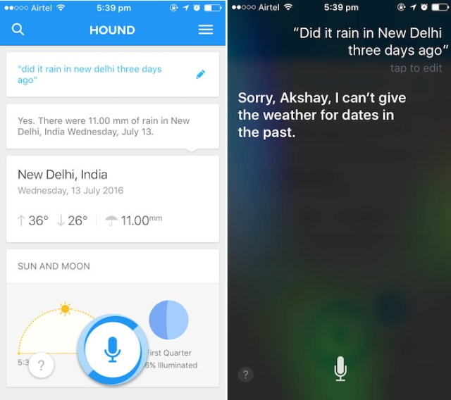 hound ai assistant past weather inquiry