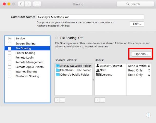 compartir archivos entre Mac y PC haga clic en opciones