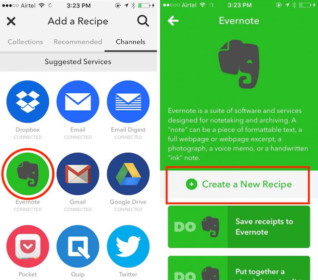 evernote create new recipe