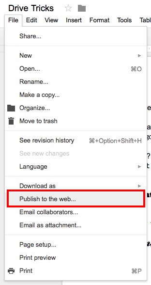 google drive tricks publish to the web