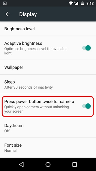 Android Shortcut double press power button for camera