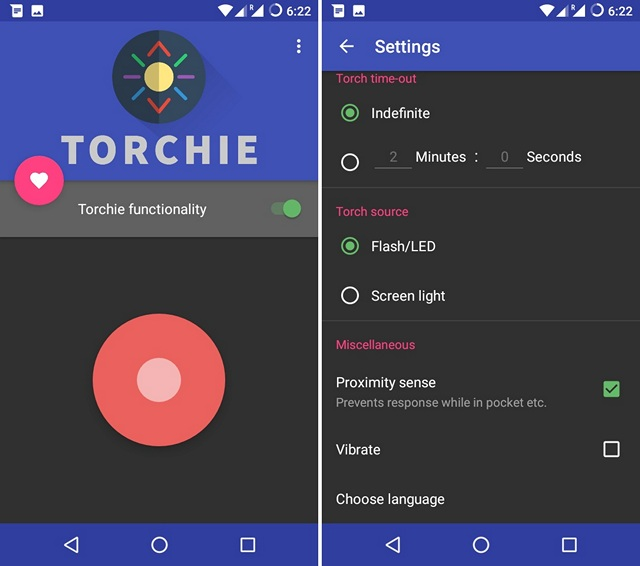 Torchie Android app