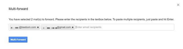 Weiterleiten mehrerer E-Mails in Google Mail über die Erweiterung