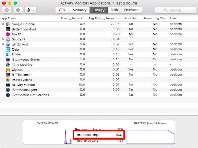monitor de tiempo de batería restante en actividad