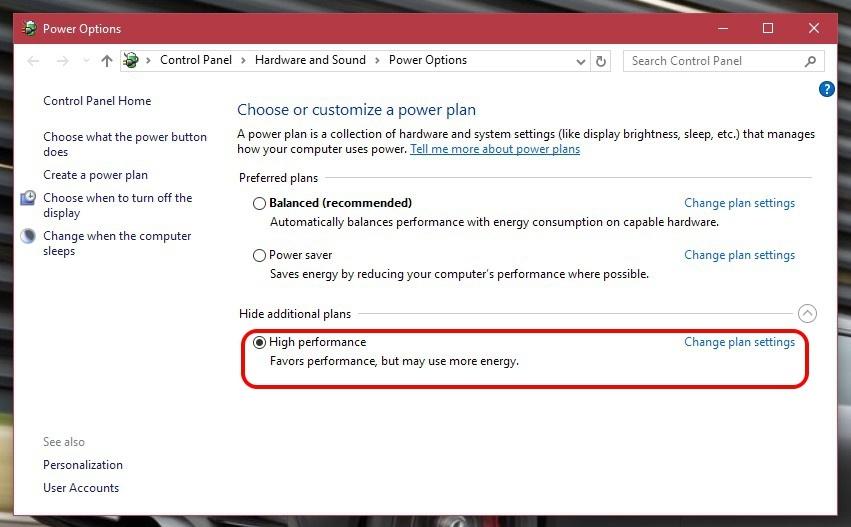 Planes de energía de Windows 10