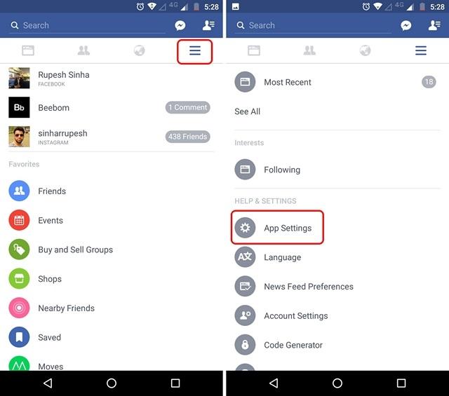 Configuración de la aplicación de Facebook Android