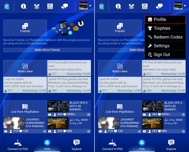 PlayStation App Profile Edit