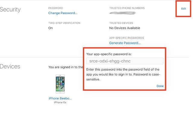 app specific password generated