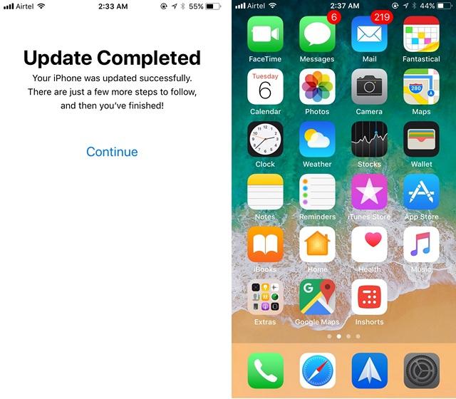 Actualización de iOS 11 completada
