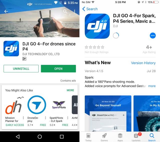 Aplicación DJI GO 4 para teléfonos inteligentes