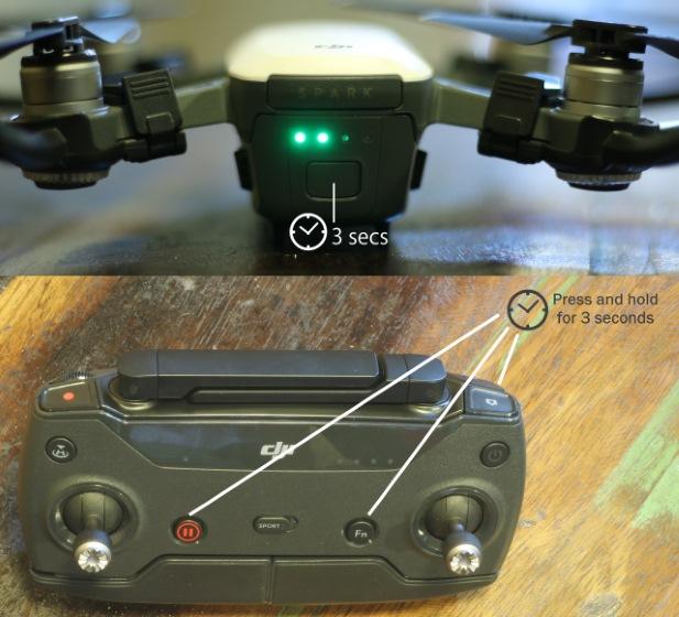 Emparejamiento del controlador con el dron